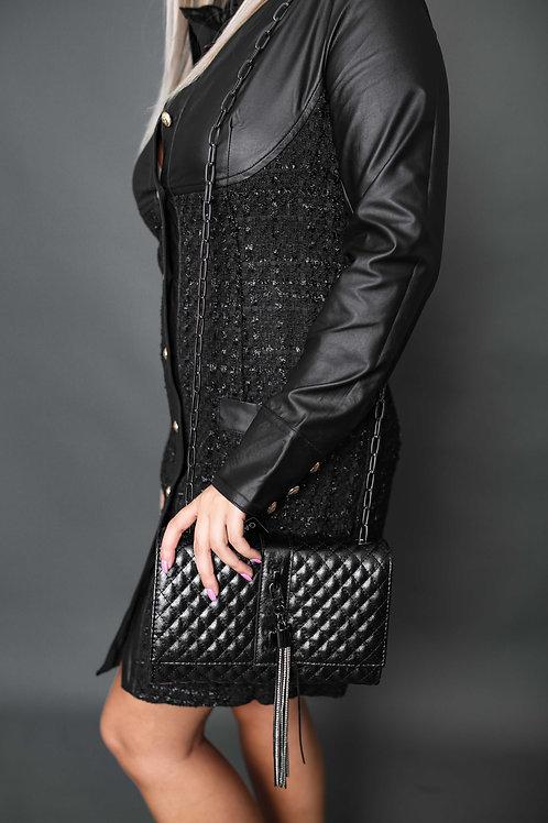 Gaudi - Sac à bandoulière matelassé avec bijou - Noir