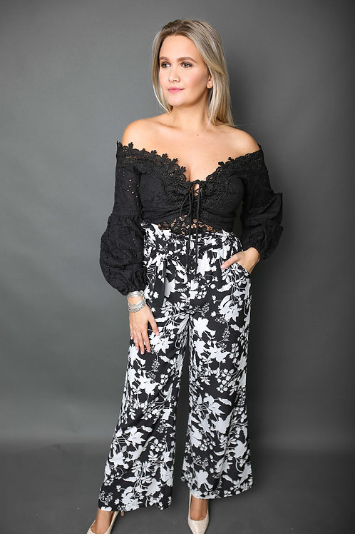 Pantalon léger à motifs - Noir