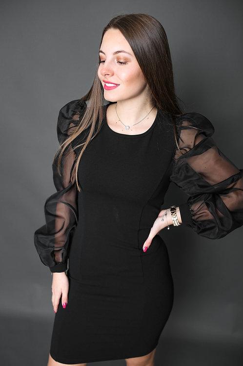 Artigli - Robe avec manche transparente - Noir