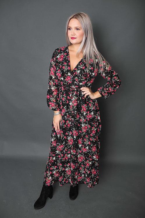 Longue robe à fleurs rouges - Noir