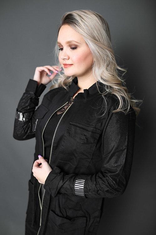 Veste cargo avec manches brillantes - Noir