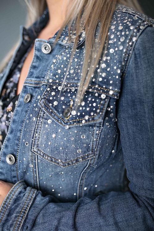Veste en jeans à strass - Bleu