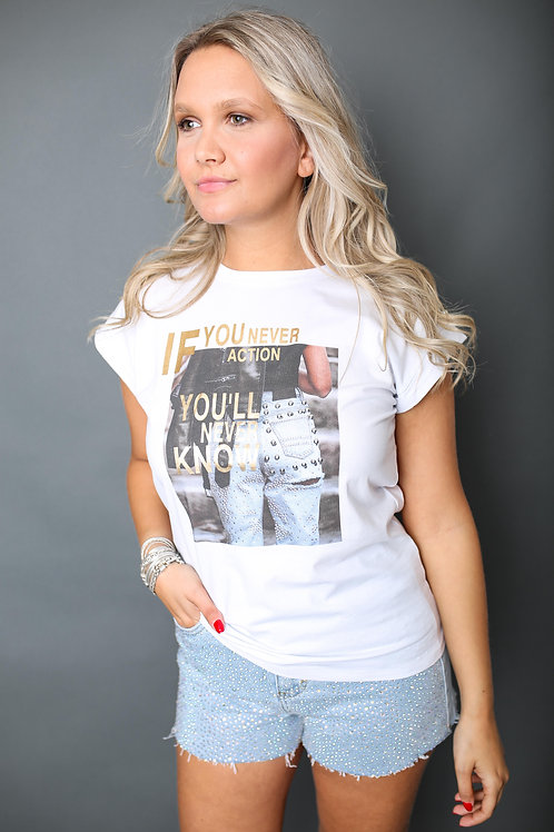 """Tshirt """"Jeans"""" - Blanc"""