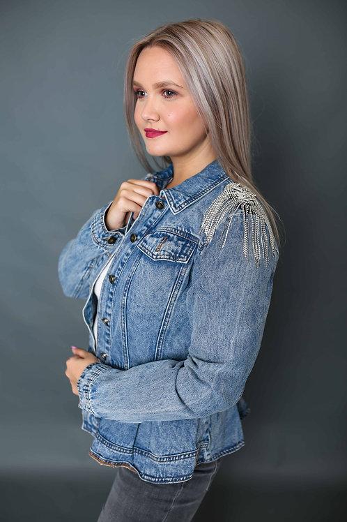 Veste en jeans avec strass - Bleu
