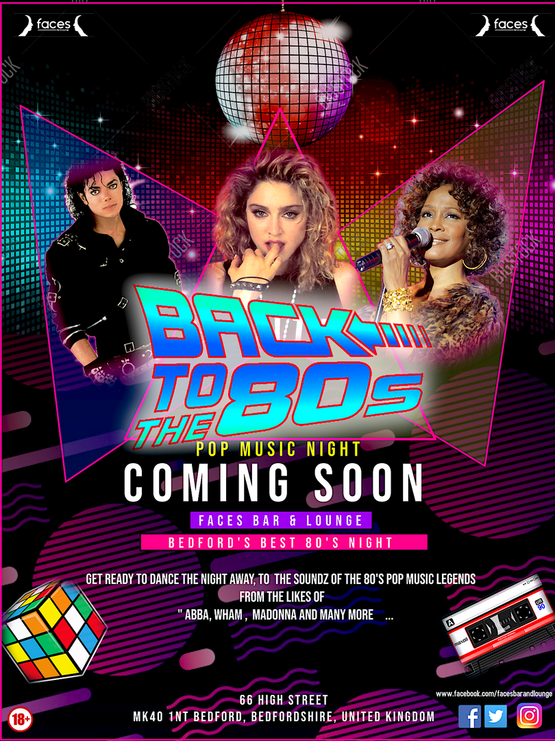 BACK TO THE 80'S POP FLYER-FACES BAR & L