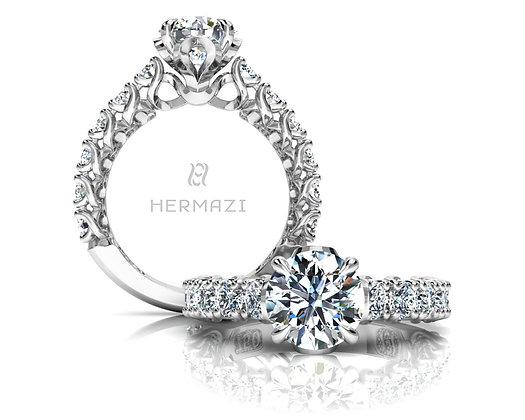 Hermazi® 'Embrace' Three-Quarter Way Diamond Engagement Ring