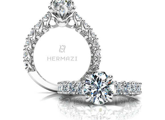 Hermazi® 'Embrace' Three-Quarter Way Diamond Engagement Ring
