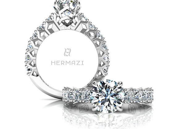 Hermazi® 'Divine' Three-Quarter Way Diamond Engagement Ring