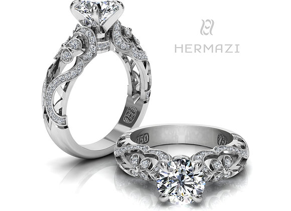 Hermazi® 'Lavender Honey I.' Diamond Engagement Ring