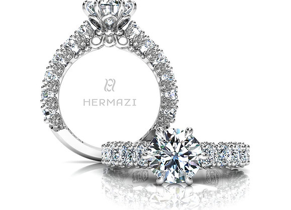 Hermazi® 'Delightful' Three-Quarter Way Diamond Engagement Ring