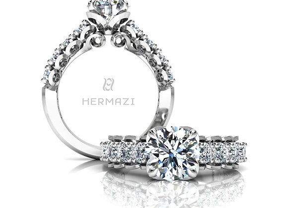 Hermazi® 'Infatuate' Halfway Diamond Engagement Ring