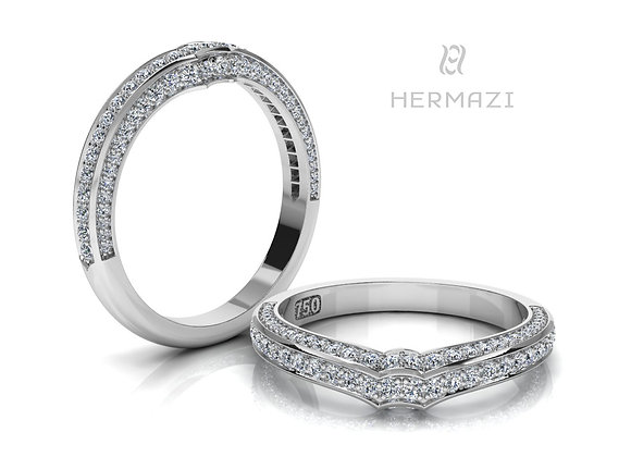 Hermazi® Triple Row Diamond Contour Wedding Band