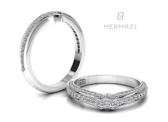Hermazi® Double Row Diamond Contour Wedding Band