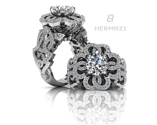 Hermazi® 'Fireball Hibiscus' Diamond Ring