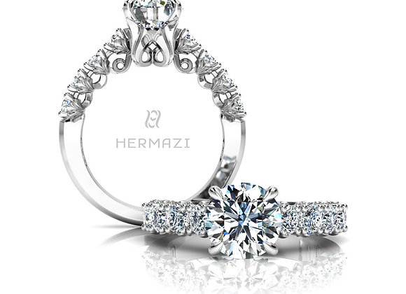 Hermazi® 'Loyalty' Halfway Diamond Engagement Ring