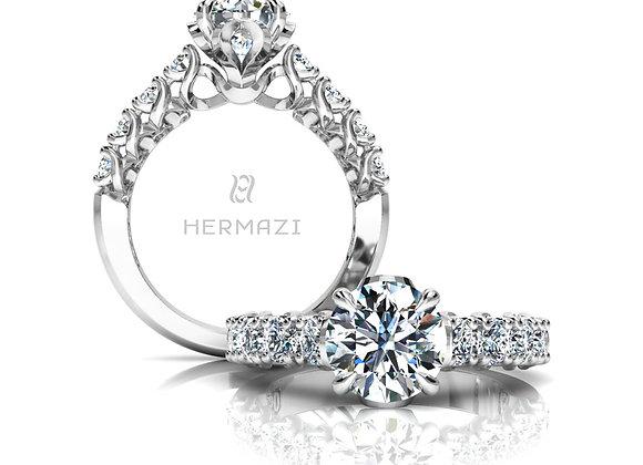 Hermazi® 'Embrace' Halfway Diamond Engagement Ring