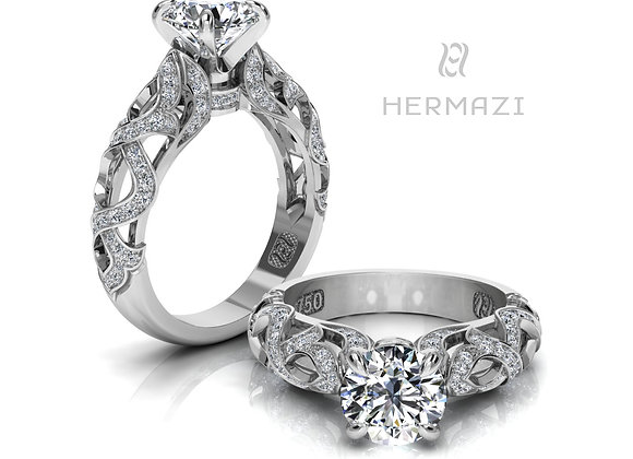 Hermazi® 'Chestnut Honey I.' Diamond Engagement Ring