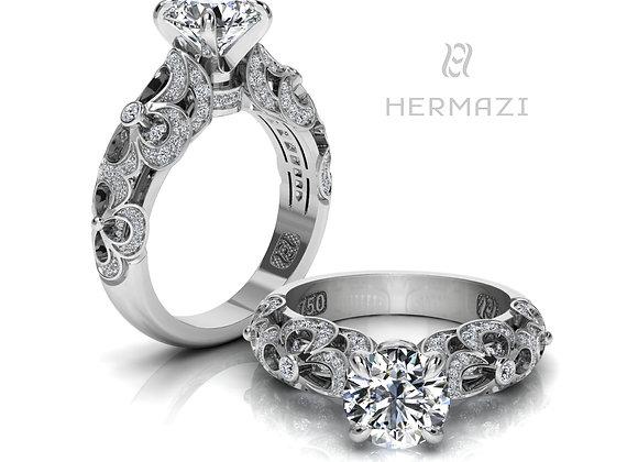 Hermazi® 'Clover Honey II.' Diamond Engagement Ring