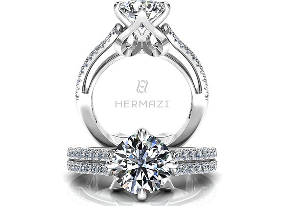 Hermazi® 'Penché' Diamond Engagement Ring