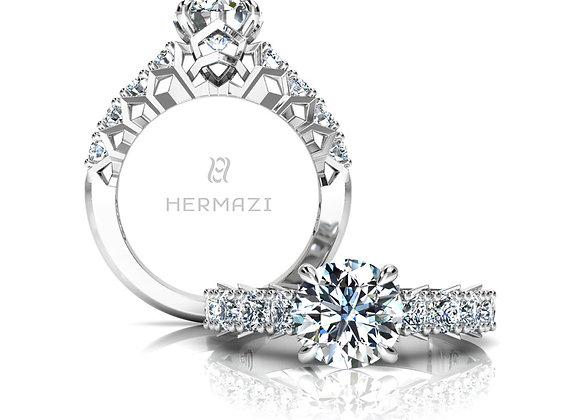 Hermazi® 'Divine' Halfway Diamond Engagement Ring