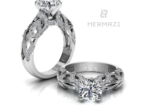 Hermazi® 'Rainforest Honey I.' Diamond Engagement Ring