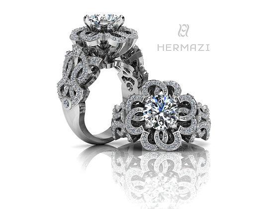 Hermazi® 'Fireball Hibiscus Petite' Diamond Ring