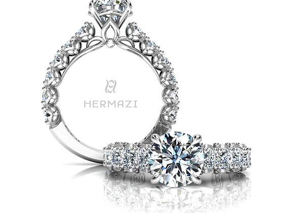 Hermazi® 'Serene' Three-Quarter Way Diamond Engagement Ring