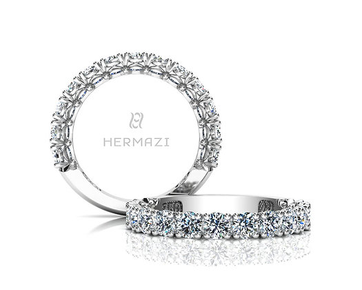 Hermazi® 'Noble' Three-Quarter Way Diamond Band
