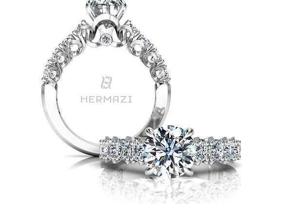 Hermazi® 'Elegance' Halfway Diamond Engagement Ring