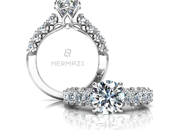 Hermazi® 'Serene' Halfway Diamond Engagement Ring