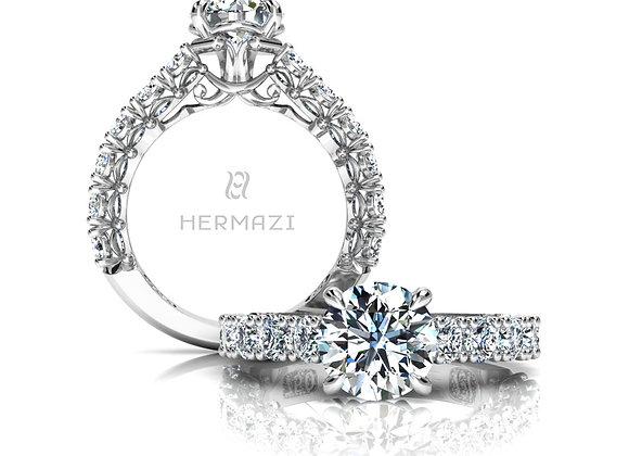 Hermazi® 'Noble' Three-Quarter Way Diamond Engagement Ring