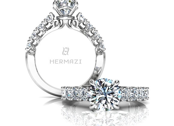 Hermazi® 'Devotion' Halfway Diamond Engagement Ring