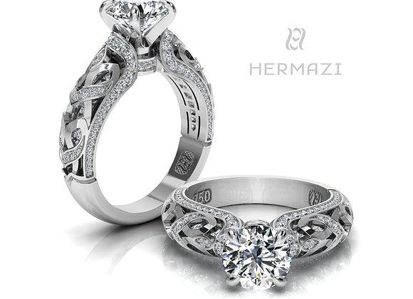 Hermazi® 'Linden Honey II.' Diamond Engagement Ring