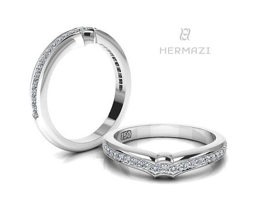 Hermazi® Single Row Diamond Contour Wedding Band