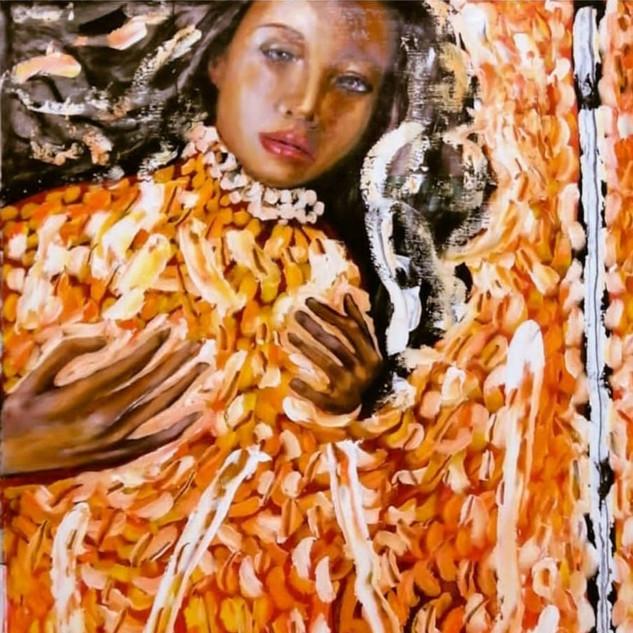 SAGRADO CORAZON DE MARIA MAGDALENA EN TIEMPOS DE COVID19. OLEO S/LIENZO 145x135cm. MODELO @madeleinemajdal