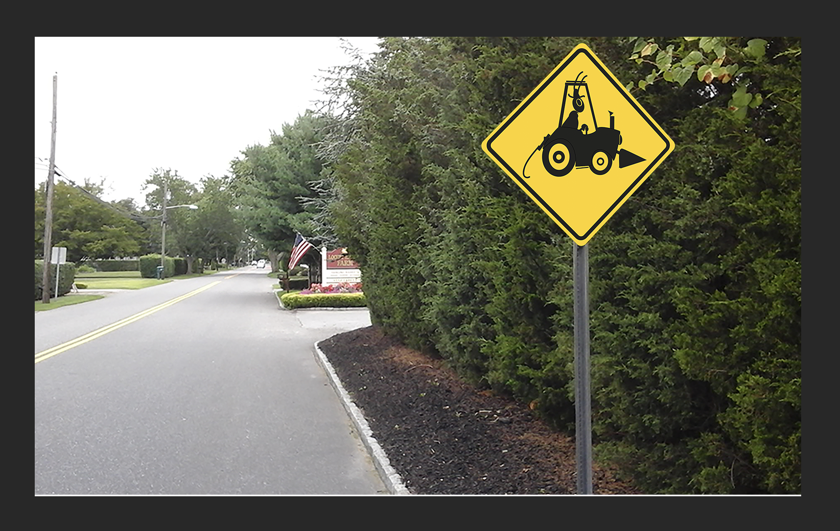 Curtis Jackson created the photo piece with the road sign​; the location is Bohemia, New York