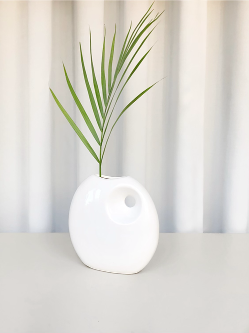 crackled white vase
