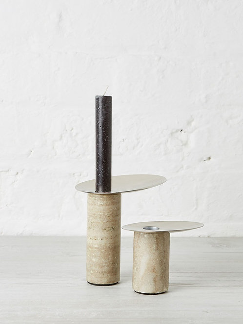 Broste CPH candle holder S marble/nickel