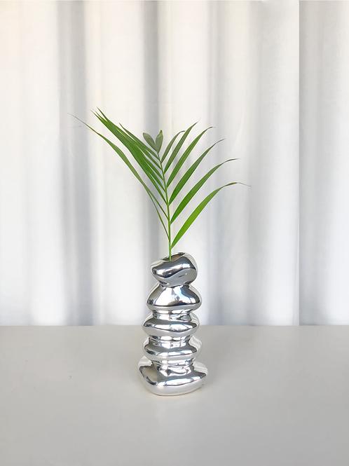 stacked chrome vase