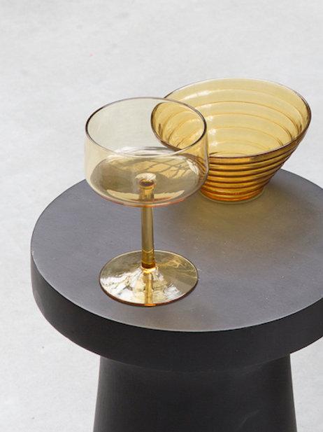UNC yolk yellow glass bowl