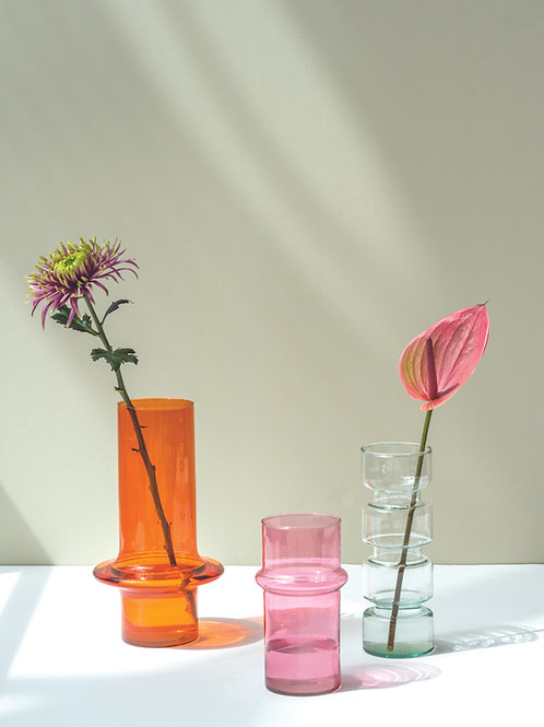 UNC vase pink recycled glass