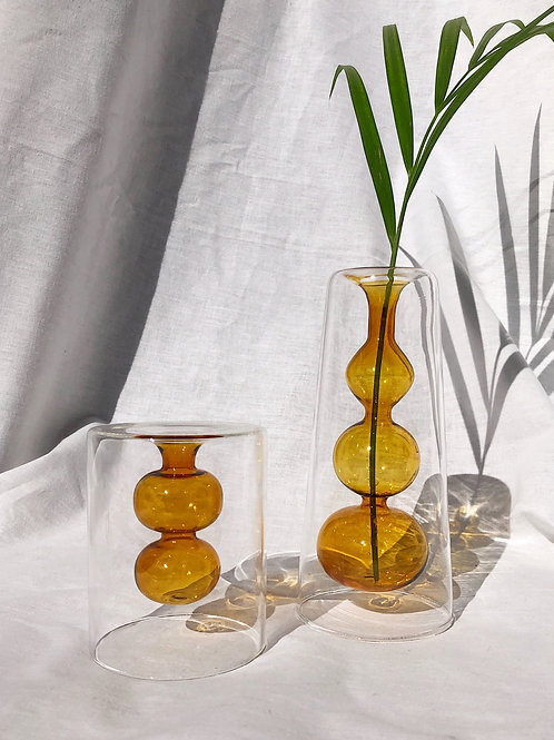 set of 2 small bubble vases