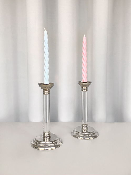 chrome/glass candleholder set