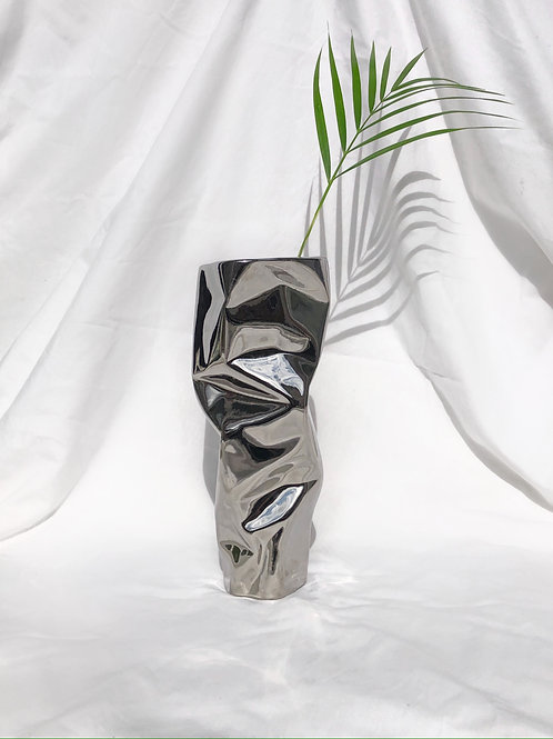 chrome 'paper' vase