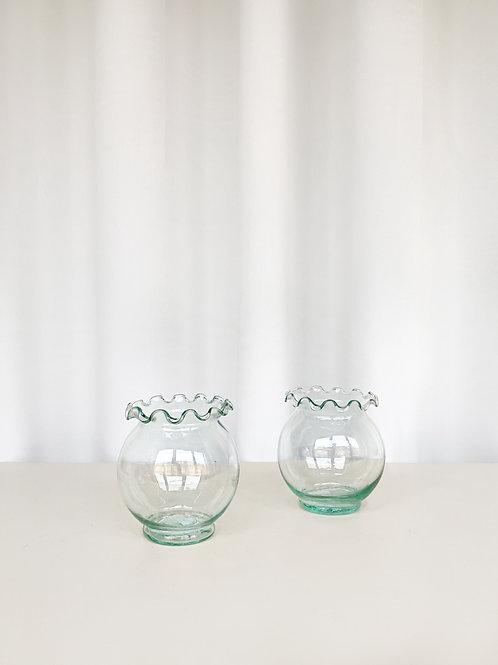 set of 2 glass jars
