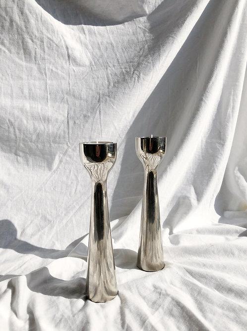 set of 2 heavy chrome candleholders