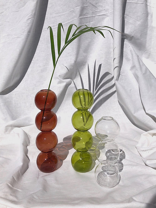 set of 3 glass bubble vases