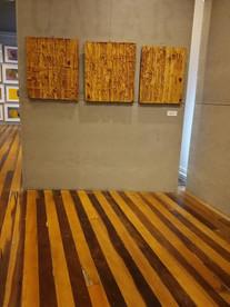 Obras de Juliana Hoffmann, ao fundo obra do Tom Bennet