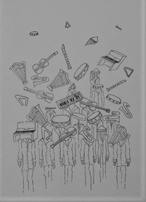 Pequeno exército de instrumentos musicais