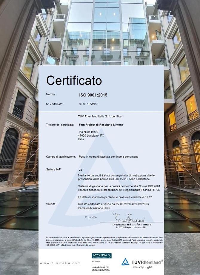 Facciate e serramenti: Fam Project certificata ISO 9001